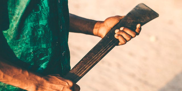 Man holding machete (Stock)