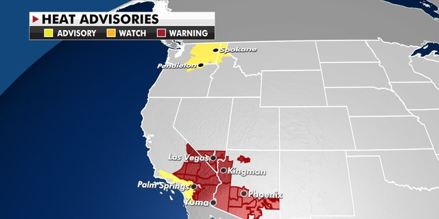 Excessive Heat Warnings and Heat advisories are in effect.