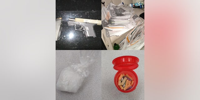 In addition to the Xanax pills, mail and ballots, police found a loaded firearm, methamphetamine, a scale and multiple California driver's licenses and credit cards in other people's names.