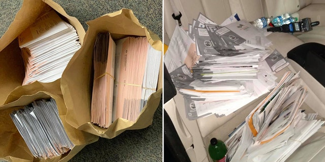 Police said over 300 recall election ballots were discovered among thousands of pieces of mail inside the felon's vehicle.