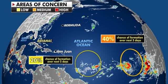 Ongoing storm activity in the Atlantic Ocean. (Fox News)
