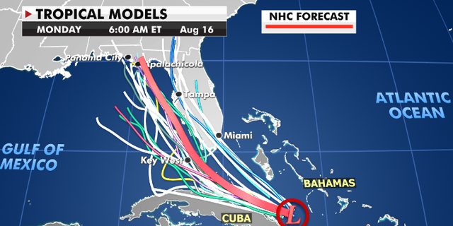 Current forecast models for Tropical Depression Fred. (Fox News)