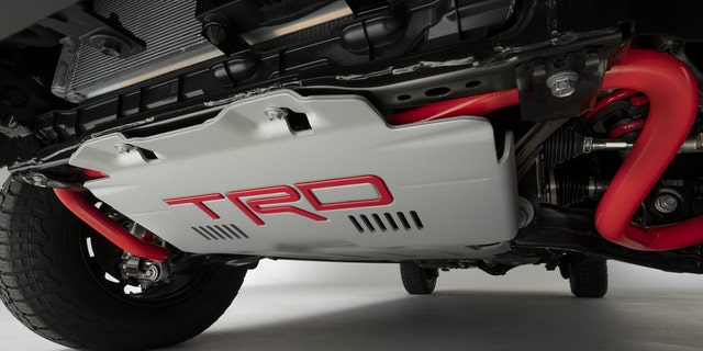 The front underbody of the TRD Pro is protected by a hefty bash plate.