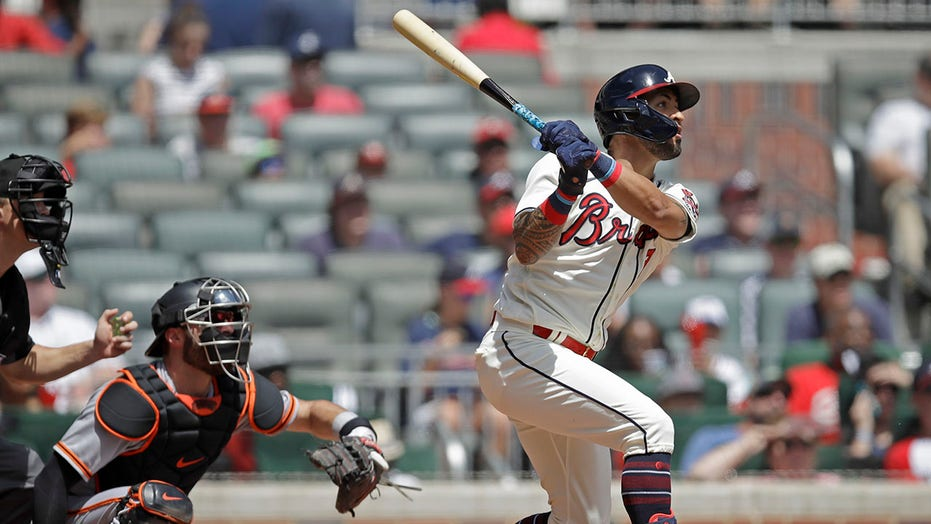 Soler, Riley back Anderson with HRs, Braves romp over Giants
