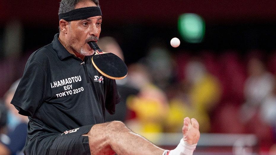 Paralympian Ibrahim Hamadtou somehow plays ping pong without arms