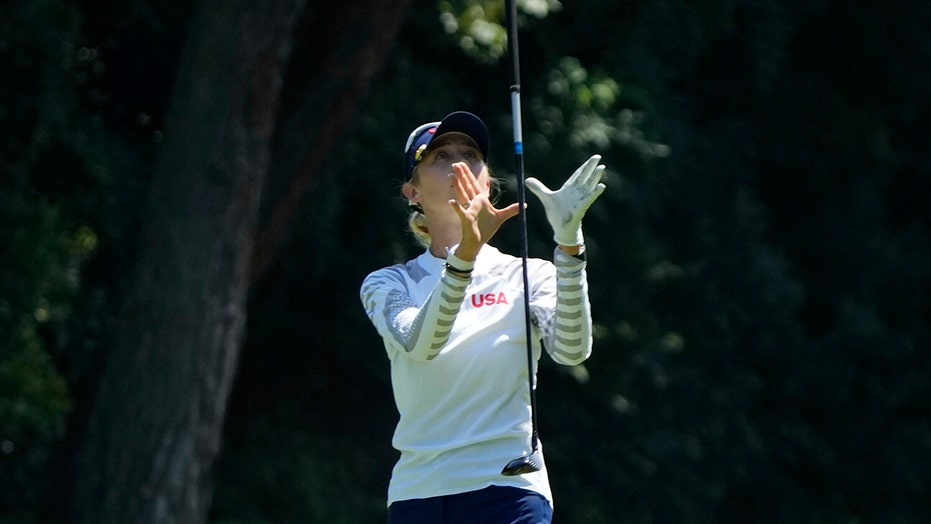 Nelly Korda survives a struggle, keeps lead in Olympic golf