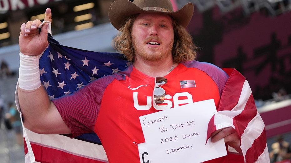 American Olympian Ryan Crouser sets shot-put record, dedicates gold to grandfather