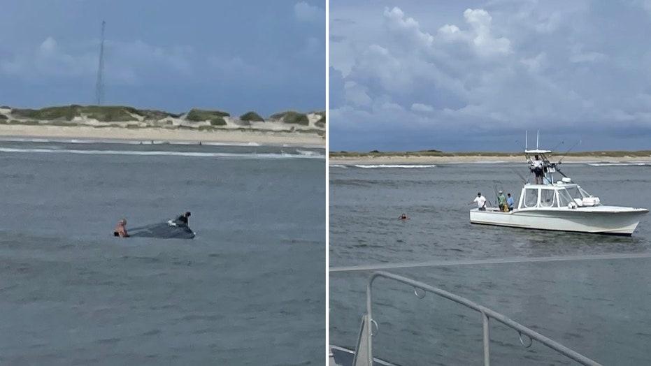 Coast Guard, good Samaritan rescue 3 off North Carolina's Outer Banks after boat capsizes