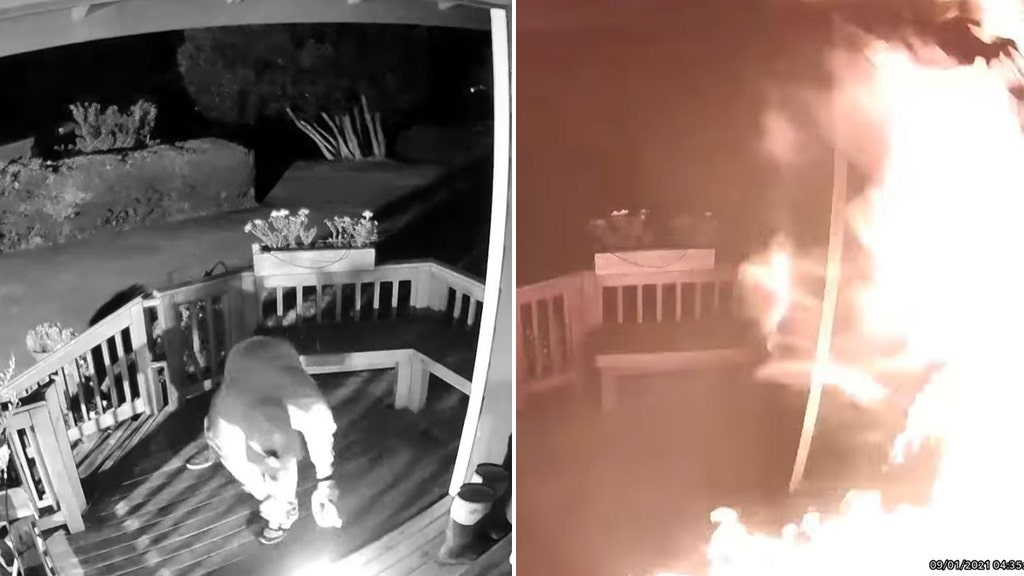 Video shows suspect douse family's porch with liquid and ignite it: police