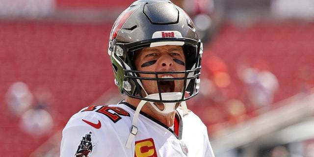 Tampa Bay Buccaneers quarterback Tom Brady (12) gets pumped up prior to the game against the Atlanta Falcons at Raymond James Stadium Sept. 19, 2021.