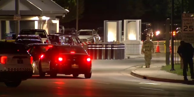Security officers see outside Wright-Patterson Air Force Base . (WRGT)