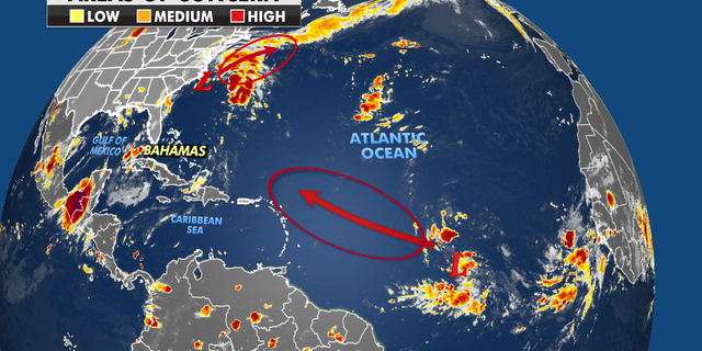 Areas of concern over the Atlantic
