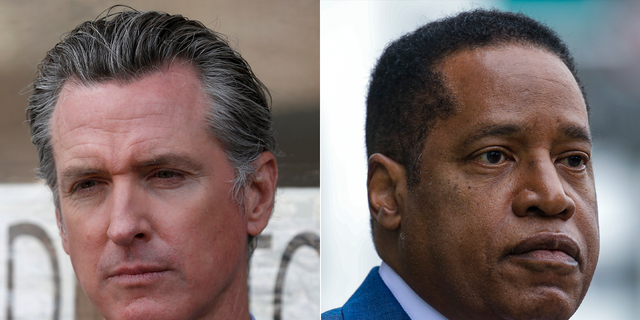California Gov. Gavin Newsom, on the left, faces a pick-up election next week, and his toughest rival is expected to be Republican Larry Elder.  (Getty Images)
