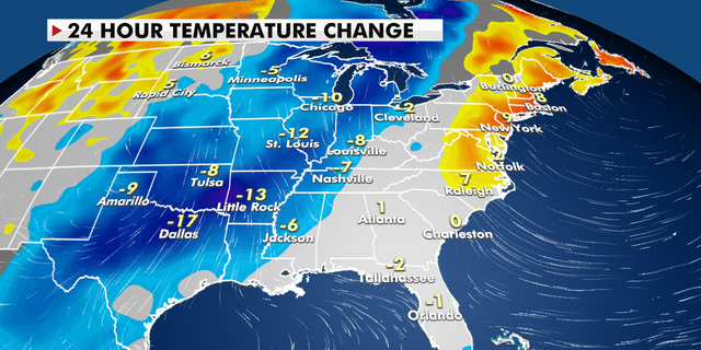 A 24-hour temperature change for the eastern U.S.
