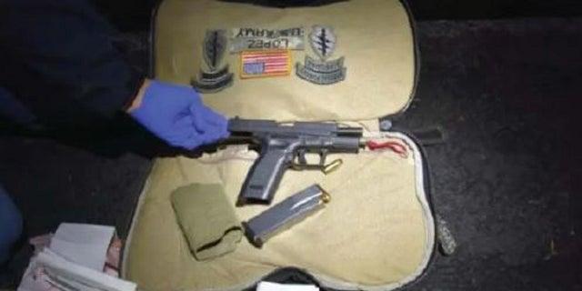 A handgun and ammunition was found in a bag belonging ot Darrin Lopez, authorities said.
