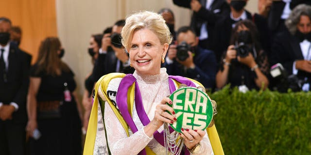"""Congresswoman Carolyn B. Maloney attends The Metropolitan Museum of Art's Costume Institute benefit gala celebrating the opening of the """"In America: A Lexicon of Fashion"""" exhibition on Monday, Sett. 13, 2021, in New York."""