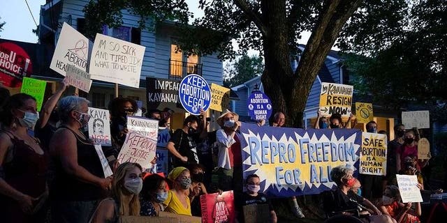 Protesters outside the home of Supreme Court Justice Brett Kavanaugh on Sept. 13 in Chevy Chase, Md.