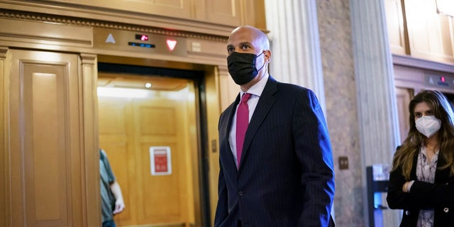 Sen. Cory Booker, D-N.J., arrives at the Senate chamber at the Capitol in Washington, Wednesday after bipartisan congressional talks on overhauling policing practices ended without an agreement. (AP Photo/J. Scott Applewhite)
