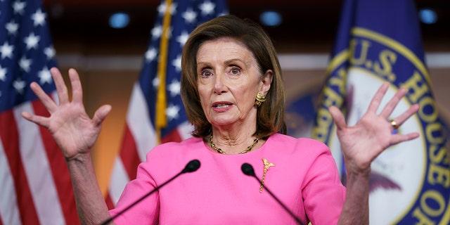 Speaker of the House Nancy Pelosi, D-Calif., addresses reporters at the Capitol in Washington, Thursday, Sept. 23, 2021. (Associated Press)