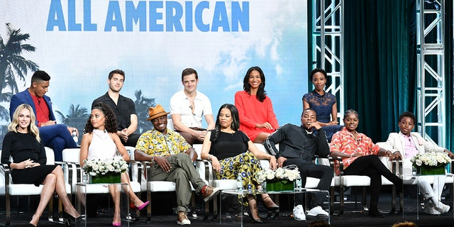 Michael Evans Behling, Cody Christian, Robbie Rogers, Greta Onieogou, Karimah Westbrook (bottom left) Monet Mazur, Samantha Logan, Taye Diggs, Nkechi Okoro Carroll, Daniel Ezra, Bre-Z and Jalyn Hall attend the summer press tour 2019 TCA - Day 13 at the Beverly Hilton hotel on August 4, 2019 in Beverly Hills, CA (Photo by Amy Sussman / Getty Images)
