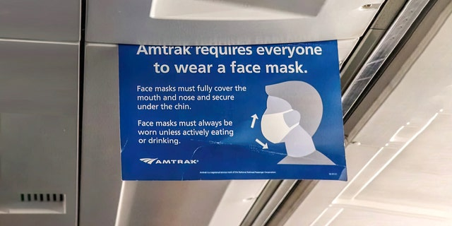 Amtrak requires all passengers to wear face coverings and masks throughout entirety of trip, per federal mandate.