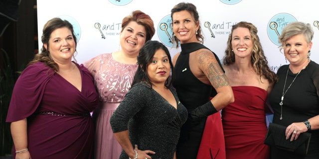 ProLove Ministries staff at the Quitters Ball: (from L-R) Sarah Taylor (client manager), Brandy Frizzell (licensed counselor), Nalelly Cortes (intake manager), Kelly Lester (director of outreach), Christy Decker (case manager), and Pam Whitehead (director)