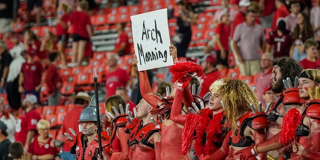 Sep 18, 2021; Athens, Georgia, USA; Georgia Bulldogs fans help recruit high school player Arch Manning after Georgia defeated the South Carolina Gamecocks at Sanford Stadium.
