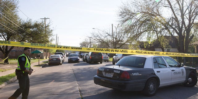 The scene near Galindo Street in Austin, Texas on March 12, 2018 where a woman in her 70s was injured in an explosion.