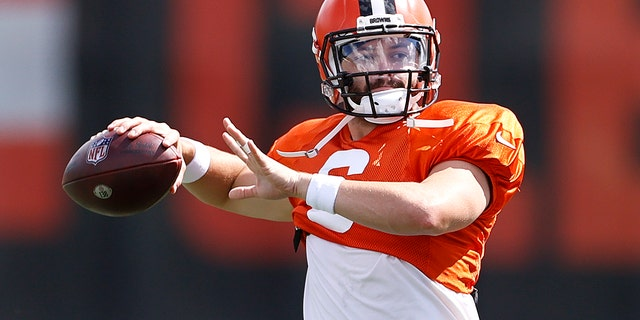 Cleveland Browns quarterback Baker Mayfield throws a pass during NFL football practice Wednesday, Sept. 1, 2021, in Berea, Ohio. (AP Photo/Ron Schwane)