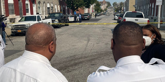 Baltimore Police Commissioner MichaelHarrison is on the scene of a double shooting involving juvenile victims in the city on Sept. 13, 2021. (Baltimore Police)