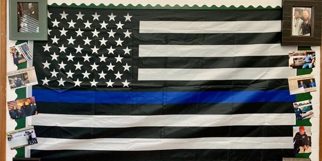 """Photo showing """"Thin Blue Line"""" flag that was ordered to be removed from Marysville Middle School classroom in Washington"""