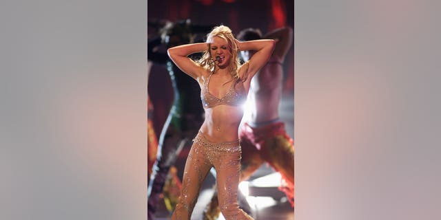 Britney Spears (wearing David Dalrymple) performing on the 2000 MTV Video Music Awards at Radio City Music Hall in new York City, 9/7/2000.