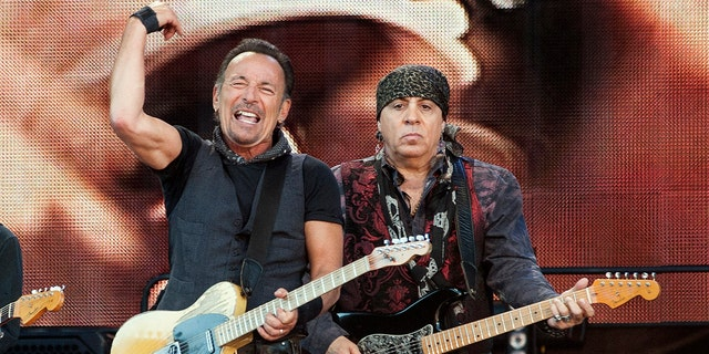 Bruce Springsteen and Steven Van Zandt perform with the E Street Band at Hampden Park on June 1, 2016 in Glasgow, Scotland.