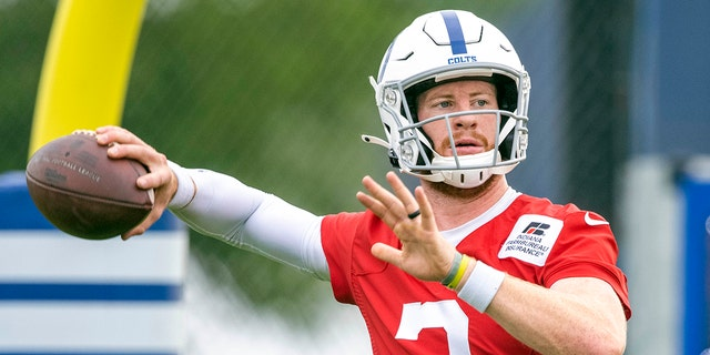 Indianapolis Colts quarterback Carson Wentz (2) at Grand Park Jul 28, 2021, in Westfield, Ind. (Marc Lebryk-USA TODAY Sports)
