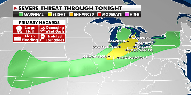 Severe weather threats from the Central Plains to the Northeast