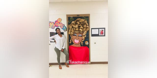 In 2019, Chanique Davis created a classroom door design after famous Cuban American Celia Cruz in honor of National Hispanic Heritage Month.