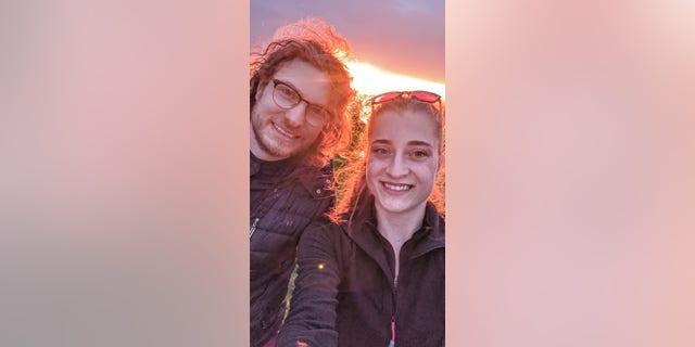 Shannon Orr, 24, and Iain Cameron, 31, from Warrington, U.K., drove across Scotland's North Coast 500 in their 1998 Volvo 960 Hearse.
