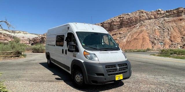 Wilson's renovated van is pictured.
