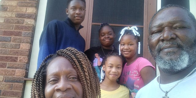 Karen and Tobias Thompson, both 55, from Cincinnati, Ohio, adopted 14-year-olds Wilnya and William and 9-year-olds Shania and Sharleathea last week.