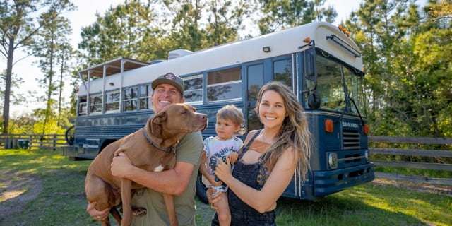 The Watson's also travel with their pit bull Rush.