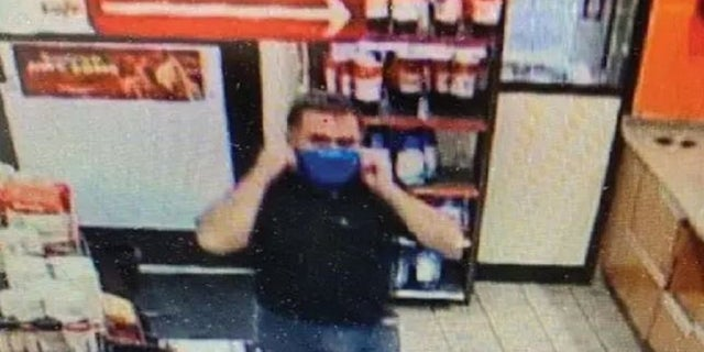 Video surveillance shows Darrin Lopez at a truck stop in Arkansas the day befor ehe allegedly killed his girlfriend's husband in Texas.