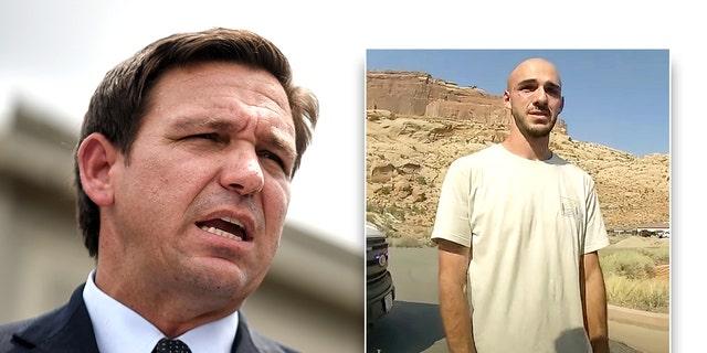 Florida Gov. Ron DeSantis and Brian Laundrie (inset) (The Moab Police Department via AP)