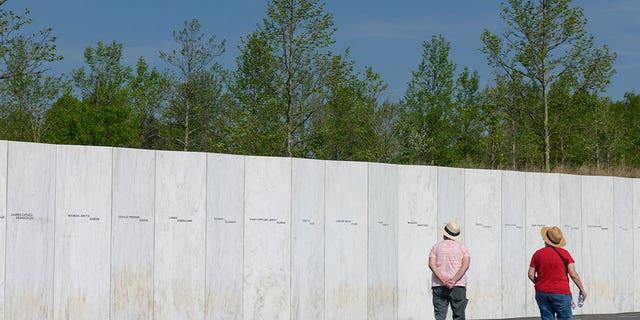People visit the Flight 93 National Memorial in Shanksville, Pennsylvania on May 26, 2021.