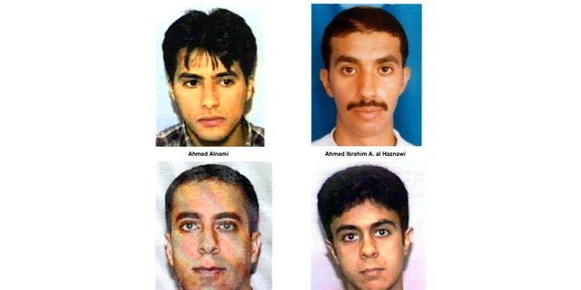 Undated photos of suspected hijackers of United Airlines flight #93 that crashed in rural Pennsylvania, released by the FBI September 27, 2001 in Washington, DC. (L to R, top to bottom) Ahmed Alnami, Ahmed Ibrahim A. al-Haznawi, Ziad Samir al-Jarrah, and Saeed Alghamdi.