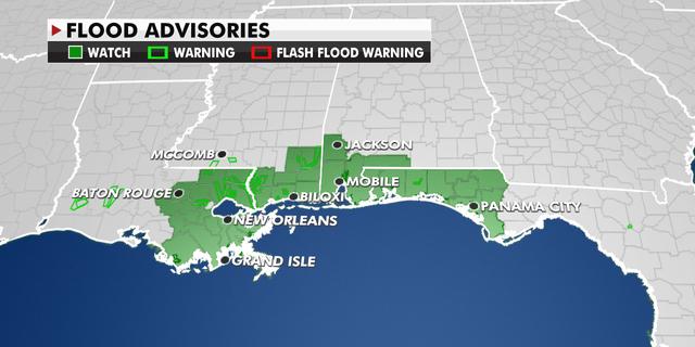 Flood advisories over the Southeast