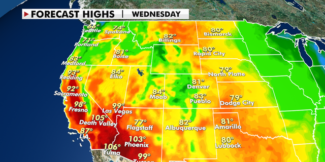 Forecast high temperatures across the West
