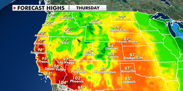 Forecast high temperatures across the U.S. West