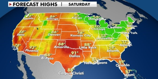 Forecast highs for Saturday