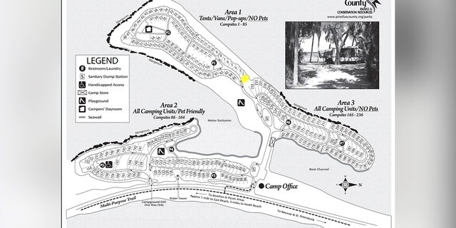 Map shows the Fort De Soto Park campground