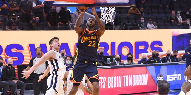 Andrew Wiggins of the Golden State Warriors shoots the ball during the game against the Memphis Grizzlies on May 21, 2021 at Chase Center in San Francisco. (Getty Images)